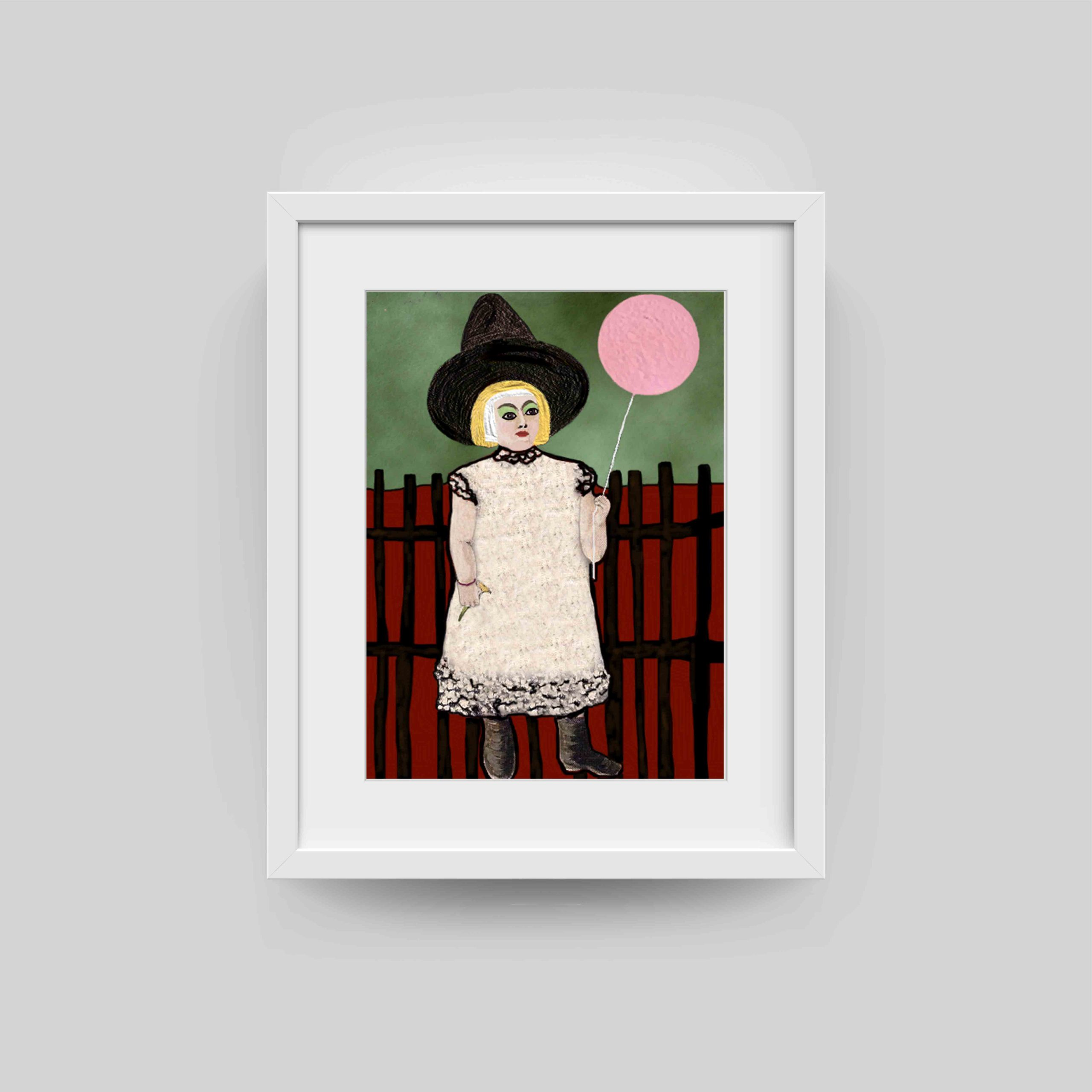 girl with ballon art print