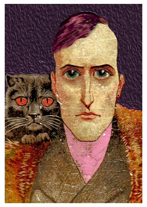 man with cat art